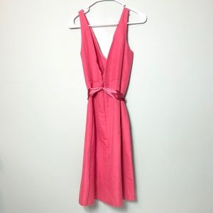 J. Crew pink fit and flare double vneck satin sash